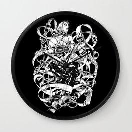 Lady in Belts Fantasy. Black Ink. Yury Fadeev. Wall Clock