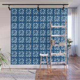 Retro 1970's Mid Century Modern Architectural Geometric Garden Wall in Blue and Golden Beige Wall Mural