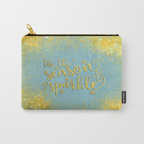 The season sparkle - Gold glitter effect Saying on aqua background on #Society6 Carry-All Pouch