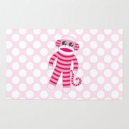 Pink Polka Dot Sock Monkey Rug