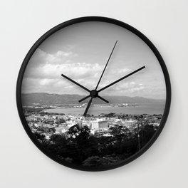 Jamaican Harbor - B&W Wall Clock