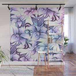 Violet pink teal hand painted sketch elegant floral Wall Mural