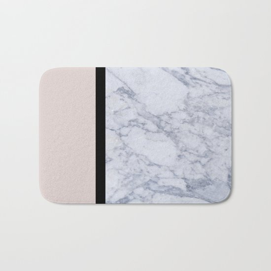 Modern minimalist blush marble Bath Mat