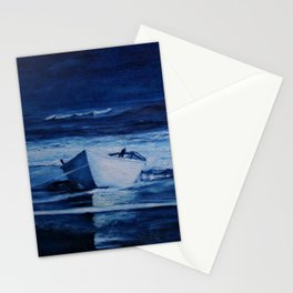 Lone Boat on Blue Ocean Waves Stationery Cards