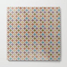 Vintage abstract geometrical mosaic diamond shapes pattern Metal Print