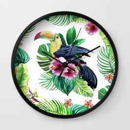watercolors bird toucan and tropical leaves Wall Clock