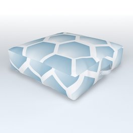 Light blue ombre hexagons, honeycomb texture Outdoor Floor Cushion