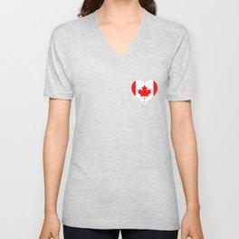 Canada Flag Heart Pocket Canadian Maple Leaf Lover Unisex V-Neck