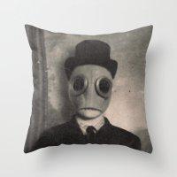 gentleman Throw Pillows featuring Gentleman by nihilnihilnihil