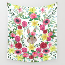 Easter rabbit floral beauty Wall Tapestry