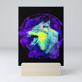 wild angry lone wolf, grunge blue, yellow, purple spray paint design Mini Art Print