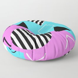 Stripes And Splats 1 - Wacky, Random, Abstract, Black And White Stripes, Blue and pink Artwork Floor Pillow