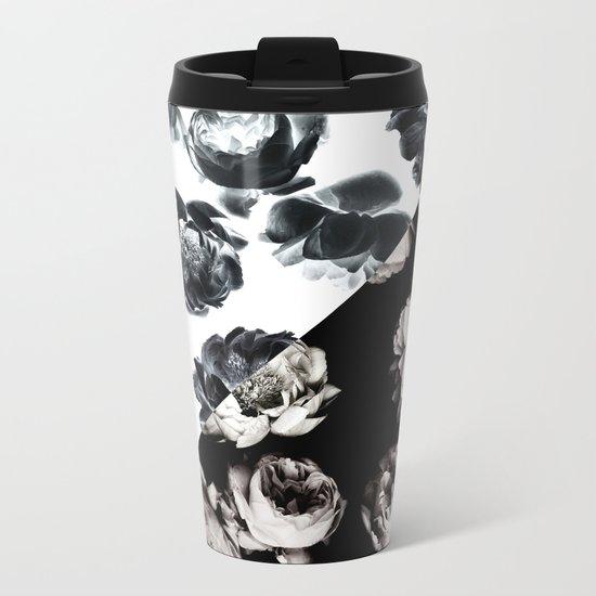 Black & White Floral Pattern Metal Travel Mug