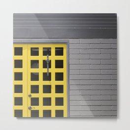 Clean Lines Architecture Design: Yellow Door, Gray Wall Metal Print