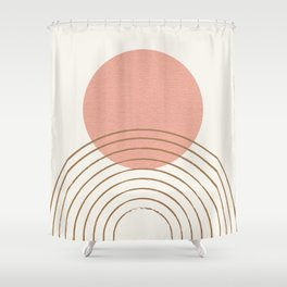 Pink Sun Mid-Century Full Shower Curtain