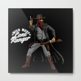 Wild West Lone Ranger Texas Law Shootout Metal Print