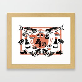Sushi And Soy Sauce Framed Art Print