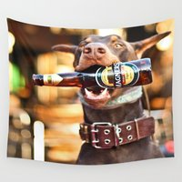 doberman Wall Tapestries featuring I'll Drink To That by Paw Prints By Jamie