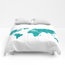 Turquoise Metallic Foil World Map Comforters