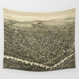 Vintage Pictorial Map of Waynesburg PA (1897) Wall Tapestry