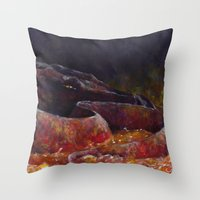 smaug Throw Pillows featuring Smaug  by Chiara Martinelli Creations