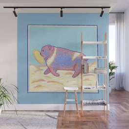 Bulldog with Frisbee Wall Mural