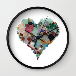Love - Original Sea Glass Heart Wall Clock