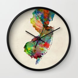 New Jersey Watercolor Map Wall Clock