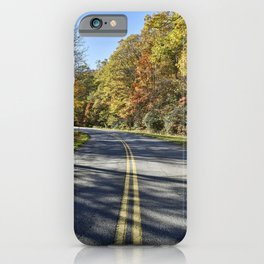 The road curves on the Blue Ridge Parkway near Foscoe North Carolina iPhone Case