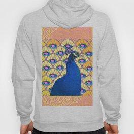 CONTEMPORARY BLUE ART DECO PEACOCK PINK-YELLOW ART Hoody