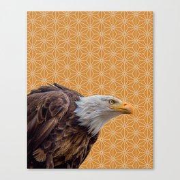 Bald Eagle, Yellow Ochre Pattern montage Canvas Print