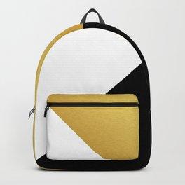 Gold White Black Abstract Geometric Art Backpack