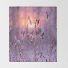 Snowy Reeds Sunset Purple Tone #decor #society6 #homedecor #buyart Throw Blanket