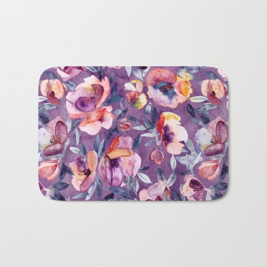 May Afternoon - a watercolor floral in purple and peach Bath Mat