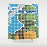 teenage mutant ninja turtles Shower Curtains featuring Teenage Mutant Ninja Turtles - Leonardo by James Brunner