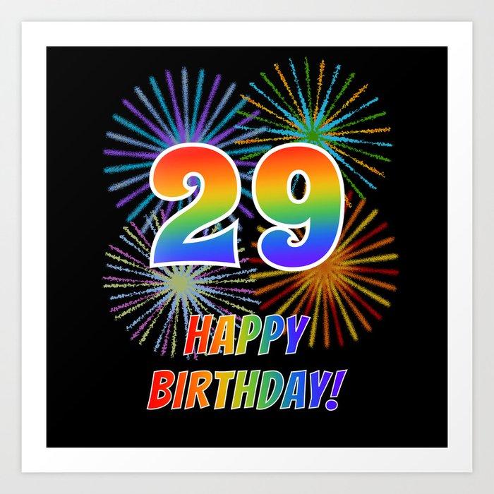 "29th Birthday ""29"" & ""HAPPY BIRTHDAY!"" W/ Rainbow Spectrum"