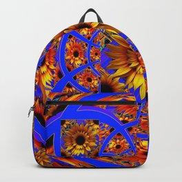 GOLD SUNFLOWERS & ROYAL BLUE PATTERN ART Backpack