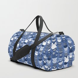 Swedish folk cats I // Indigo blue background Duffle Bag