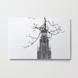Iconic St. Bavo Church tower of Haarlem in winter | Haarlem historical city, the Netherlands | Urban travel photography Metal Print