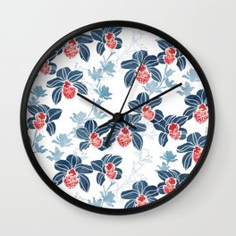 Orchid garden in navy blue on white Wall Clock