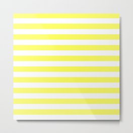 Stripes (Yellow & White Pattern) Metal Print
