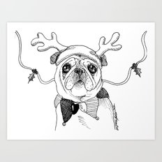 Jingle Pug Art Print