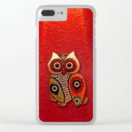 Retro Wood Owl Clear iPhone Case
