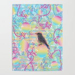 Summery Bubbly Bird Poster