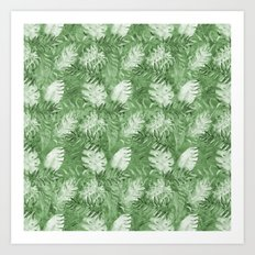 Tropical Watercolor Green Palm Tree Leaves Art Print