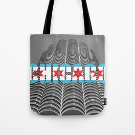 Chicago Flag Marina Tower City Architecture Text Photography Typography Tote Bag
