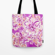 GOOD VIBES Wild Pink Watercolor Floral Tote Bag