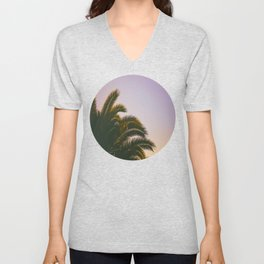 Sunset Purple Palm Tree Circle Photo Unisex V-Neck