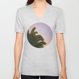 Sunset Purple Palm Tree Circle Photo Unisex V-Neck
