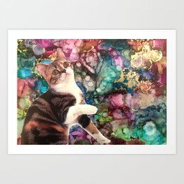 Cute Cat on a Marbled Background Art Print